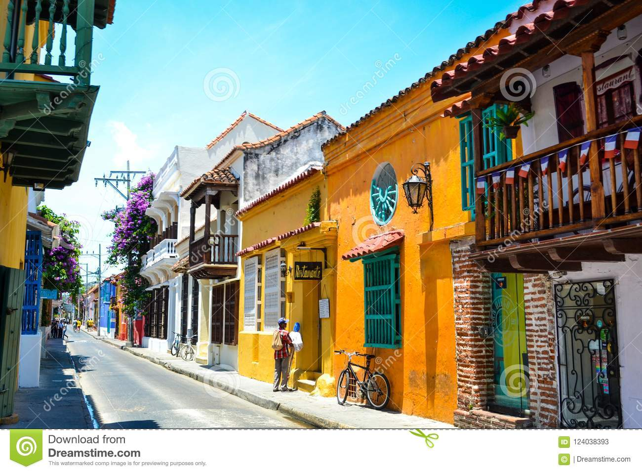 Street view of the colorful Cartagena in Colombia