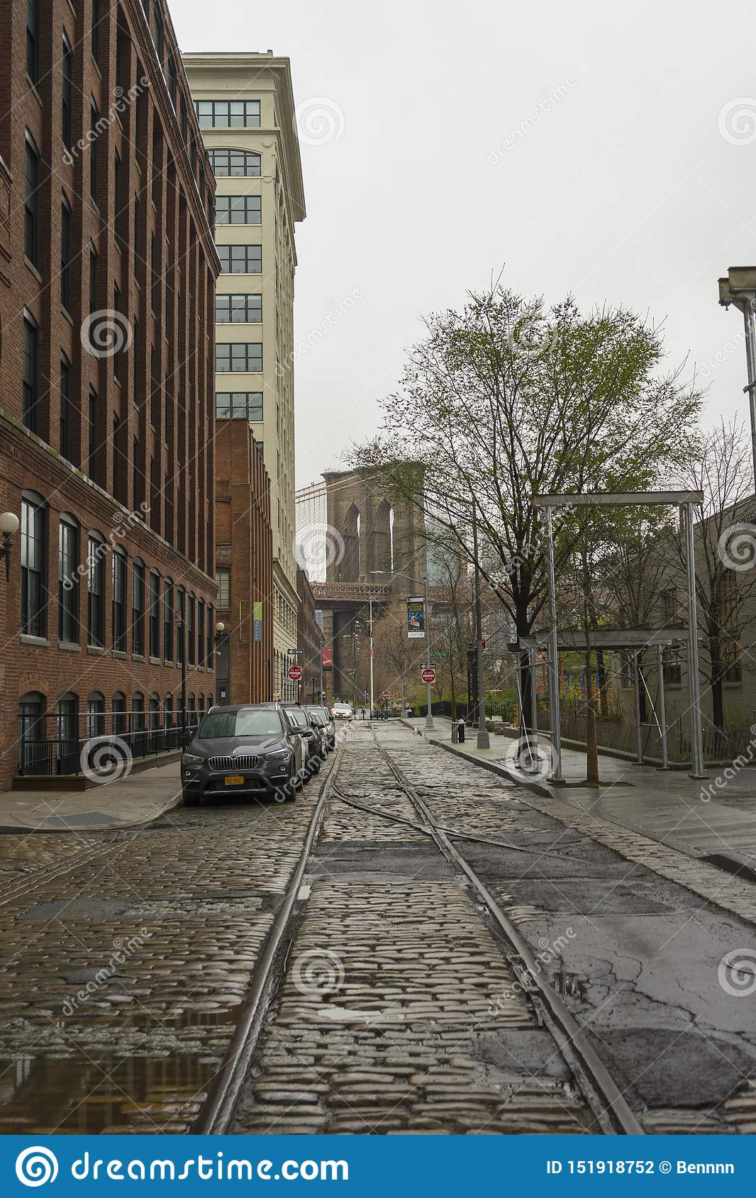 Street view of DUMBO Neighbourhood in Brooklyn in New York City ,USA