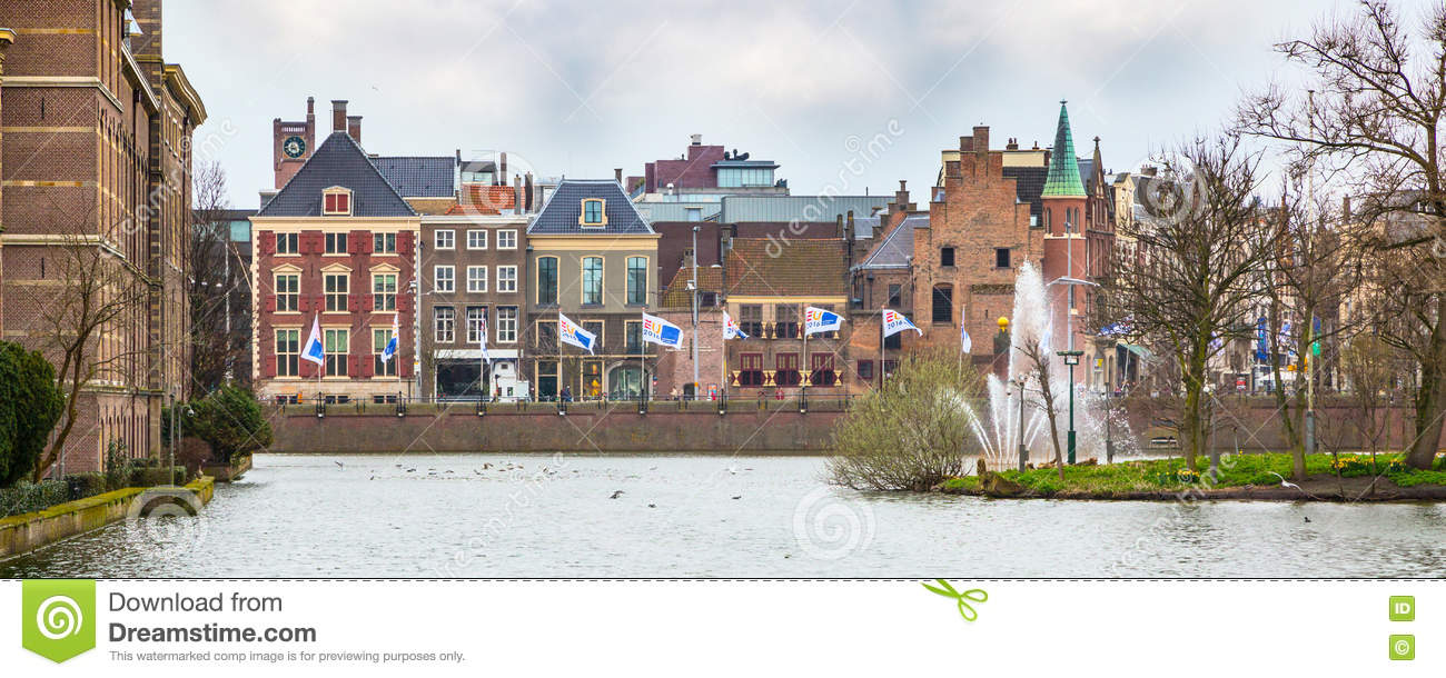 Street View With Dutch Houses And Lake In Hague Holland Editorial Photo Image Of Street