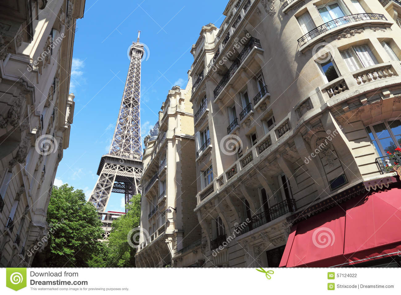 street view on eiffel tower in paris france stock photo image 57124022. Black Bedroom Furniture Sets. Home Design Ideas