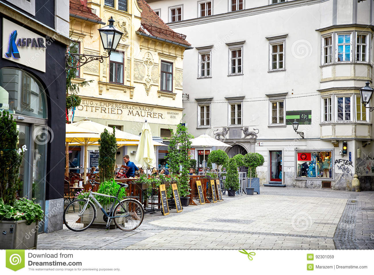 Street view of Graz, Austria
