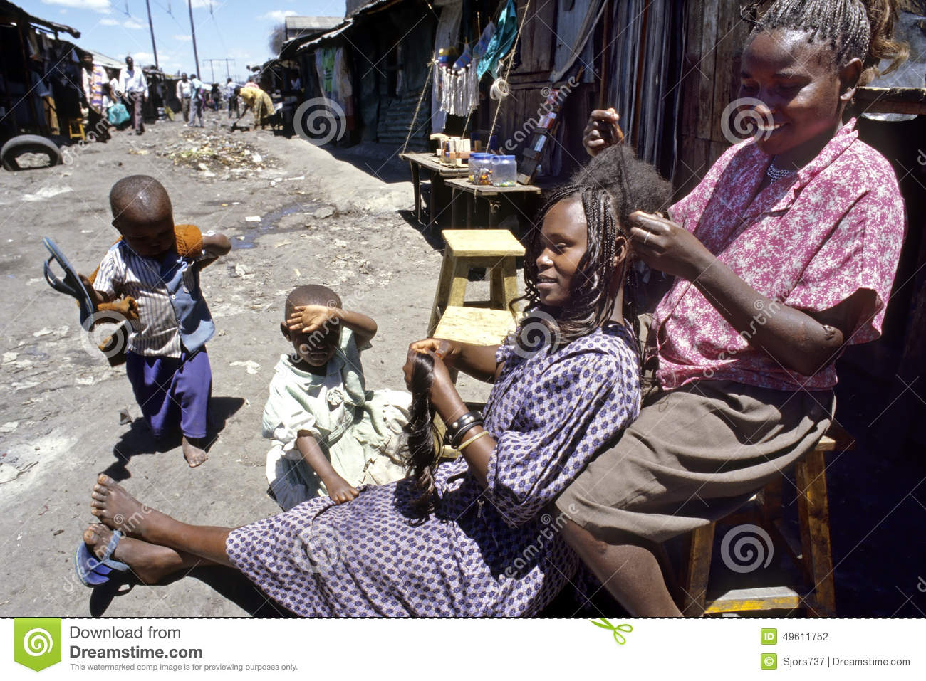 Street View Of Hairdresser And Customer In Slum Editorial
