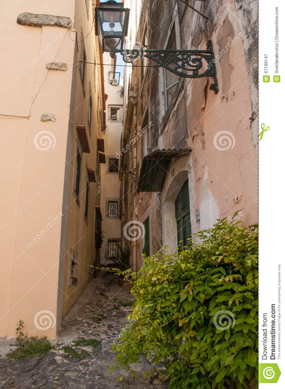a street view of historic architectural district in lisbon stock