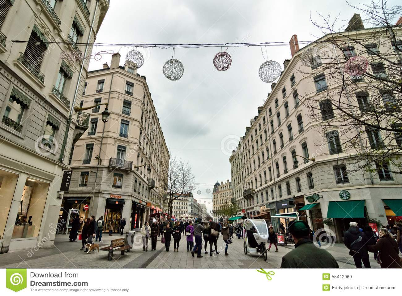 street view in lyon france editorial stock image image of streets festival 55412969. Black Bedroom Furniture Sets. Home Design Ideas