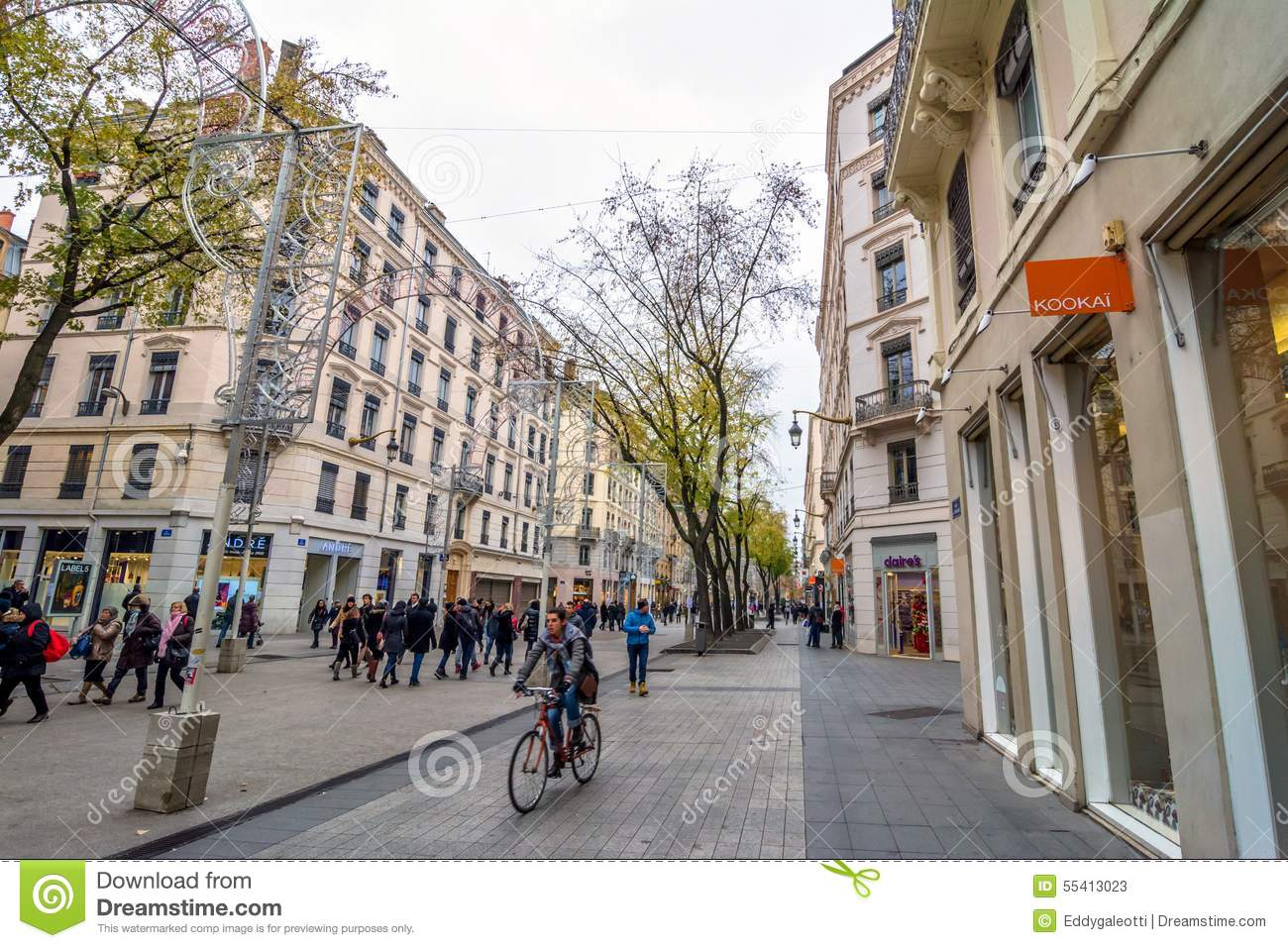 street view in lyon france editorial stock photo image of architecture france 55413023. Black Bedroom Furniture Sets. Home Design Ideas