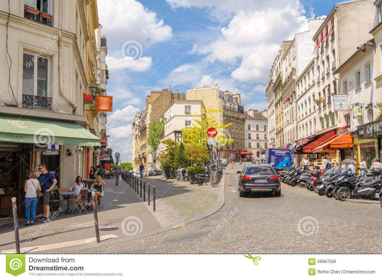 street view of paris city editorial stock image image 56887589. Black Bedroom Furniture Sets. Home Design Ideas
