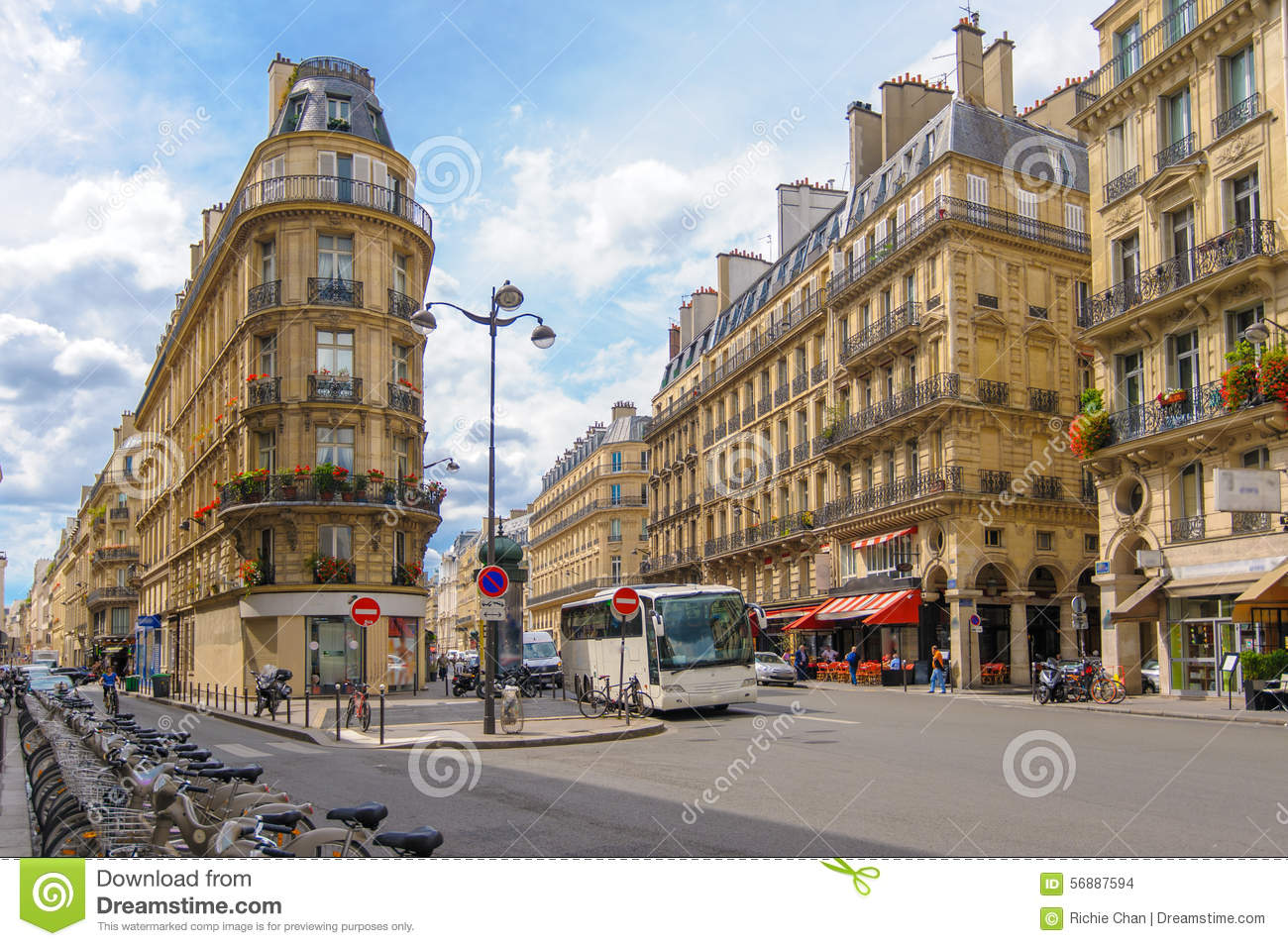 street view of paris city editorial stock image image of city 56887594. Black Bedroom Furniture Sets. Home Design Ideas