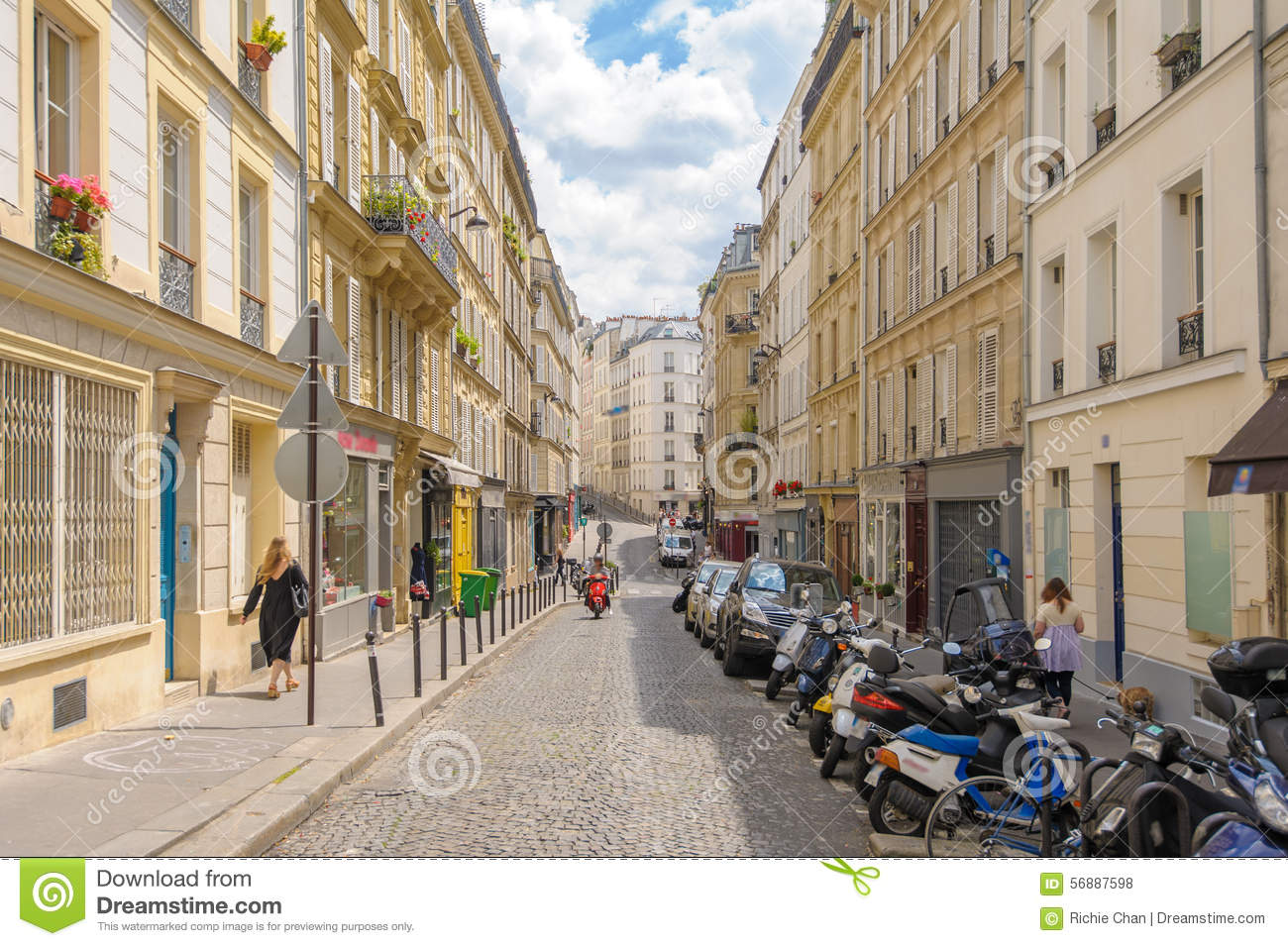 street view of paris city editorial stock photo image of daytime 56887598. Black Bedroom Furniture Sets. Home Design Ideas
