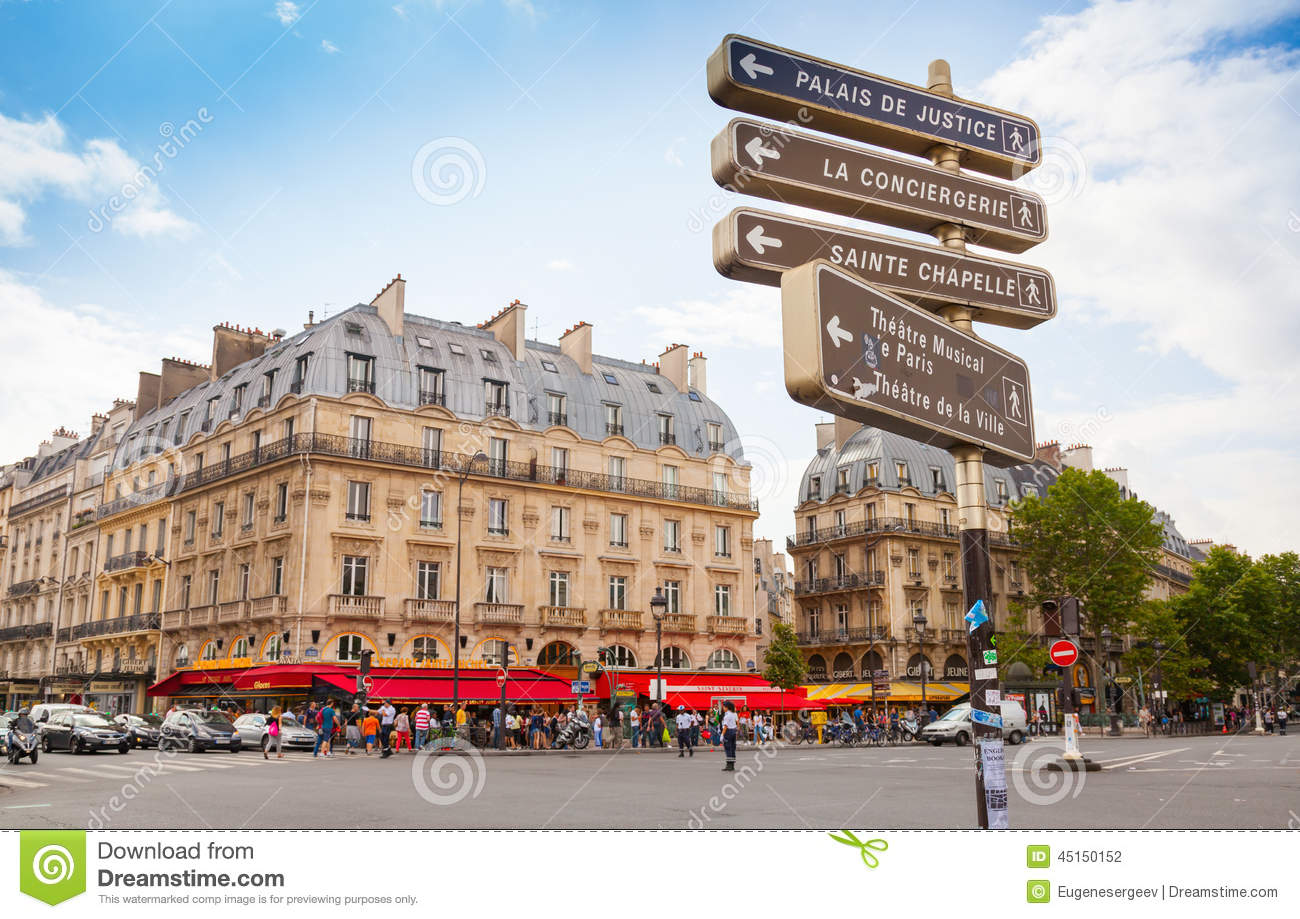 Free Download Residential Building Plans Street View Of Place Saint Michel With Signpost Paris