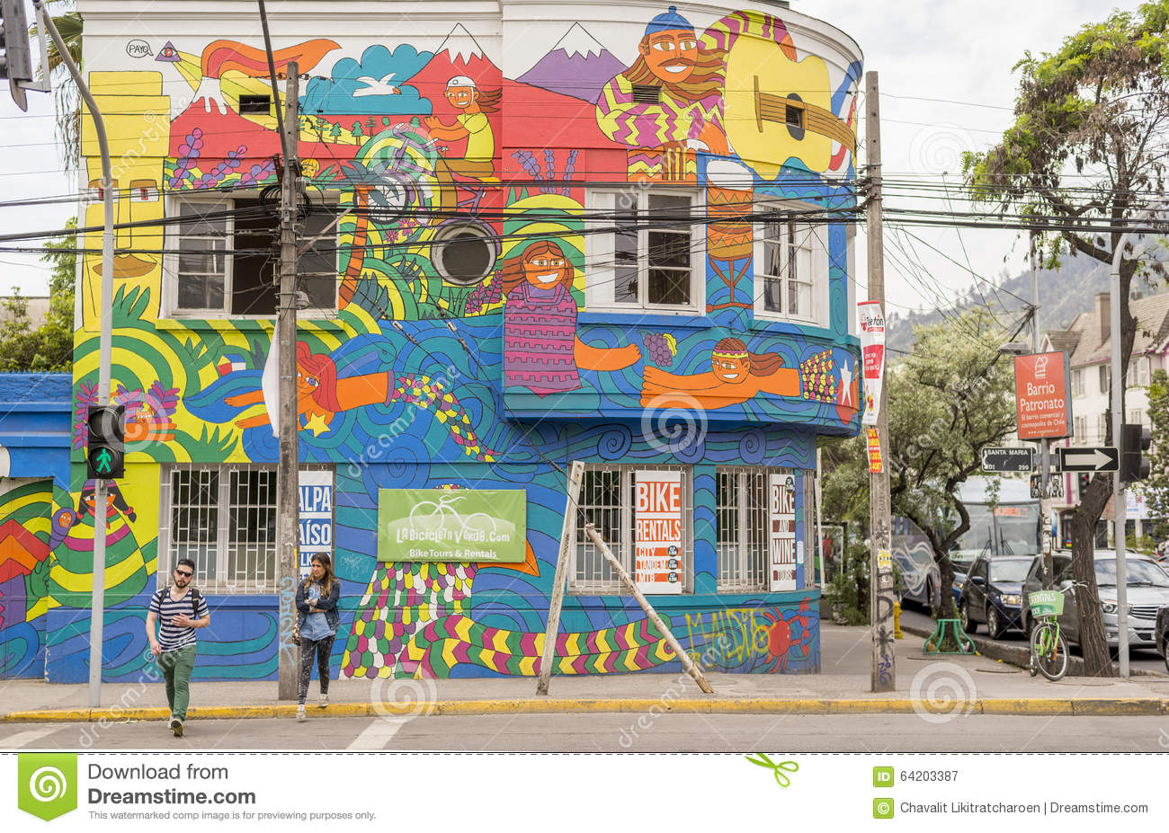 Street view editorial photography image 64203387 for Carpenter papel mural santiago chile