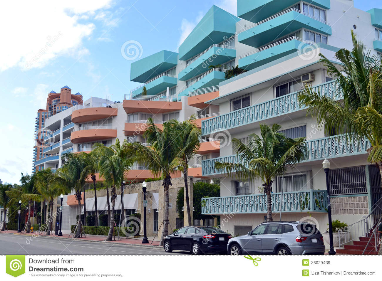 street view south beach  miami royalty free stock images