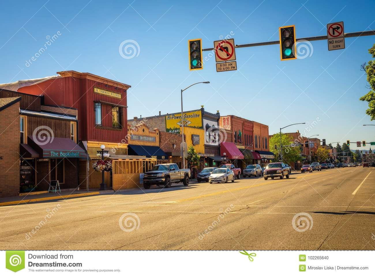Street View With Stores And Restaurants In Kalispell