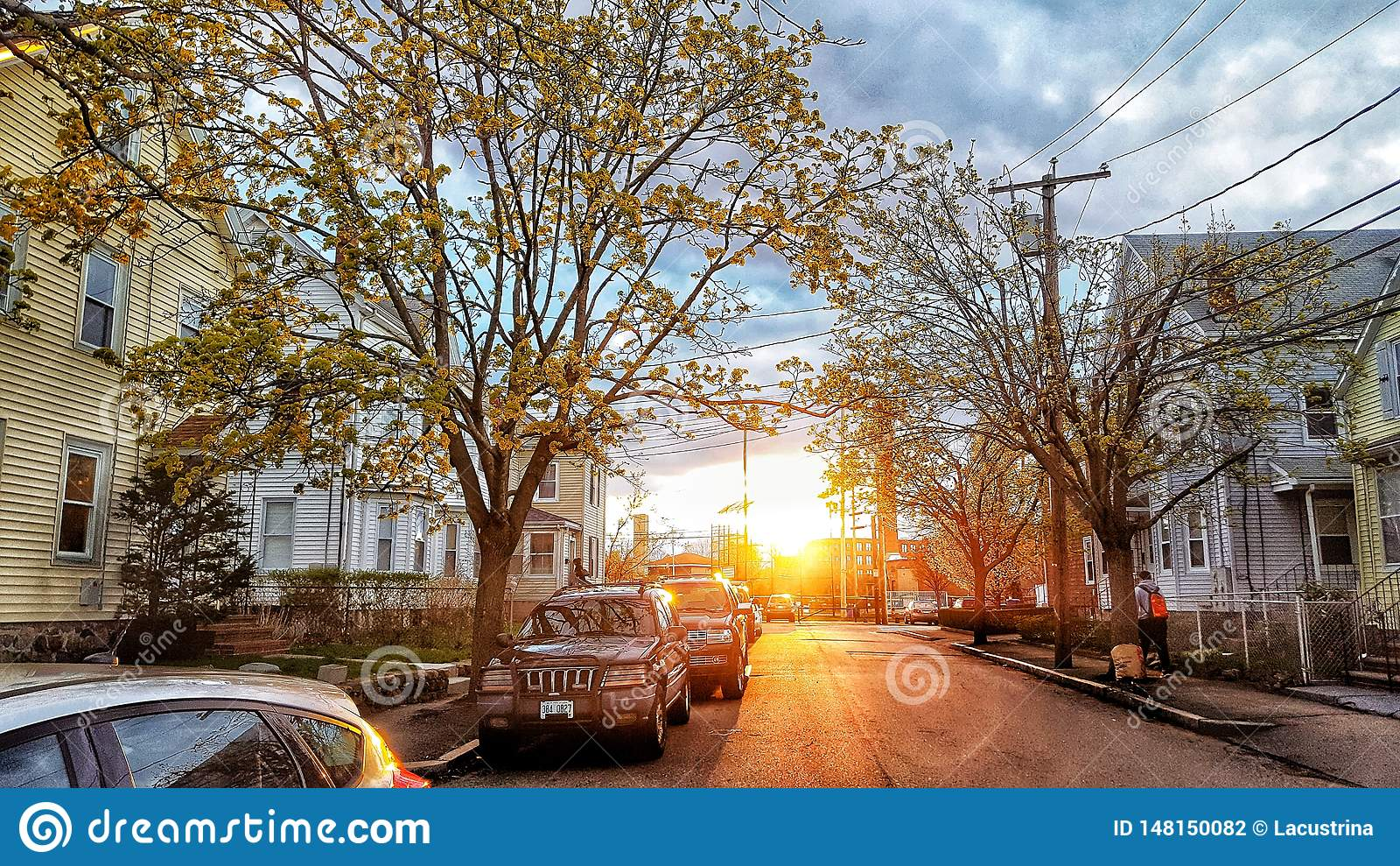 Street view in the sunset.