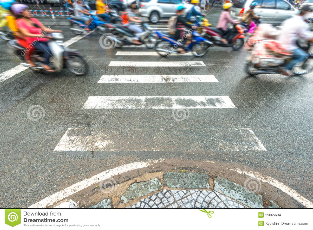 People Riding Scooters. Traffic In Vietnam. Stock Images ...