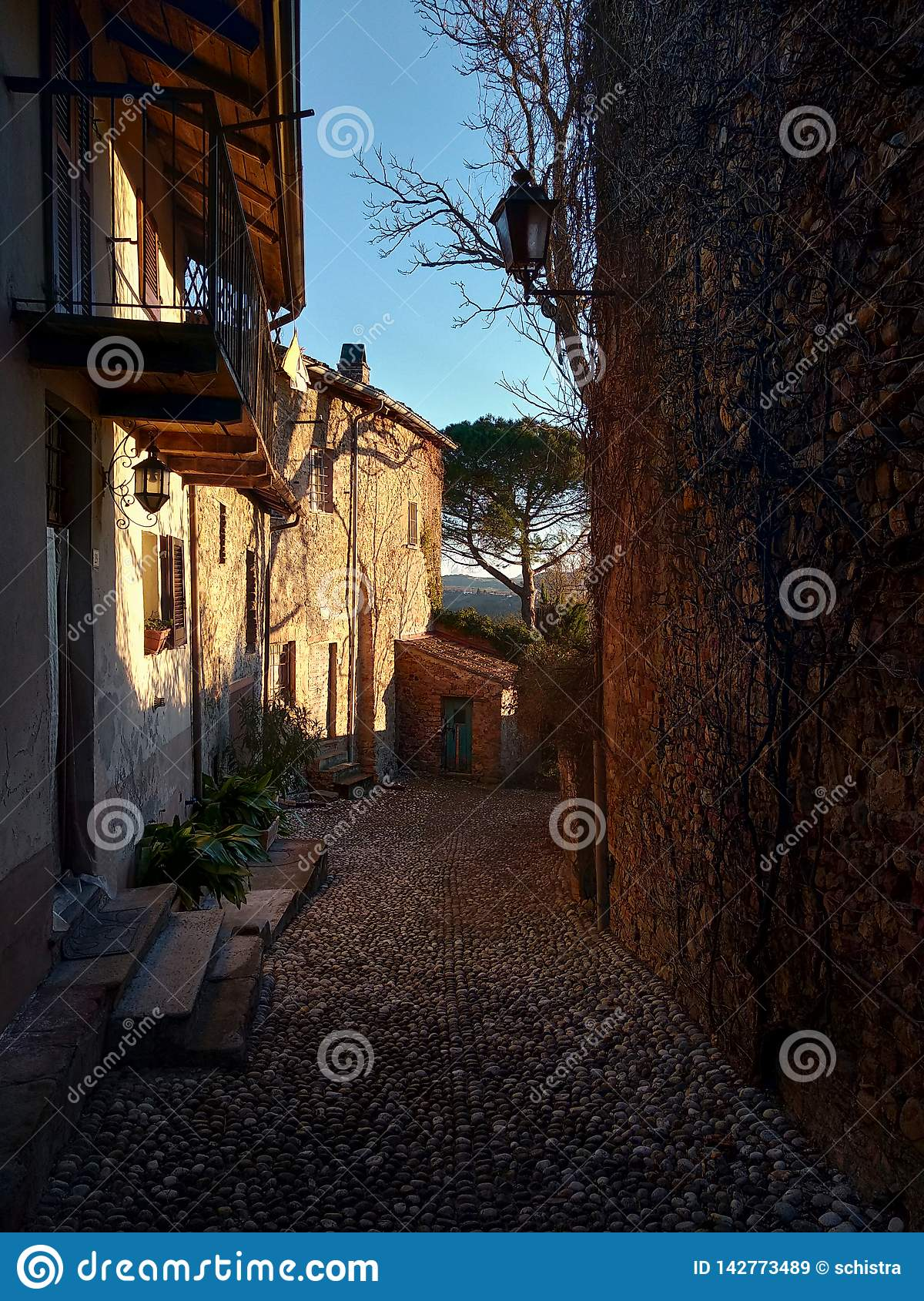 Street in a village on the hills in Italy. Nazzano village in Lombardy