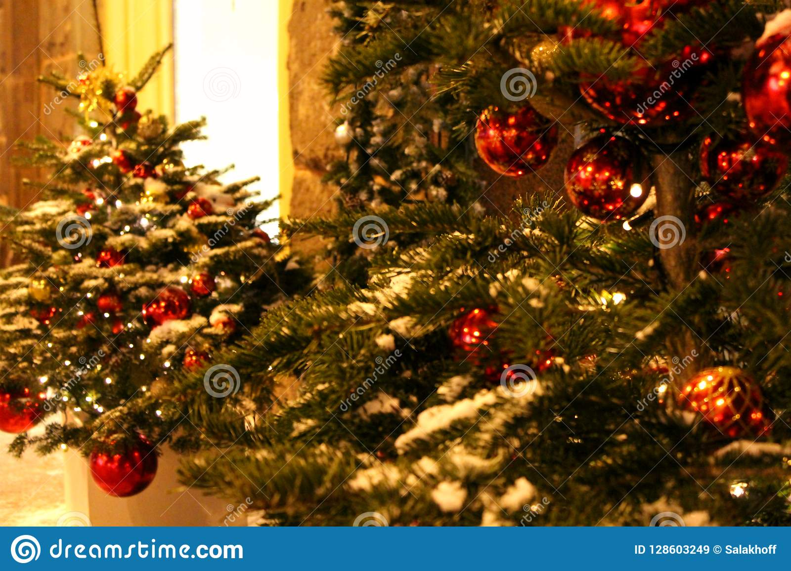 Christmas Decorations On The Christmas Tree In Red Colors In The Form Of Balls Close Up On The Street Or In The Yard Stock Image Image Of Form Design 128603249