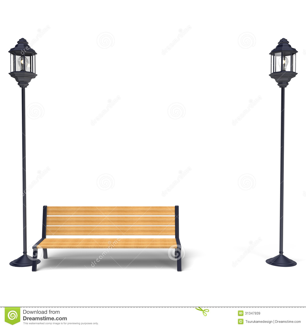 Streetlamp And Bench Front View Royalty Free Stock Images - Image ...