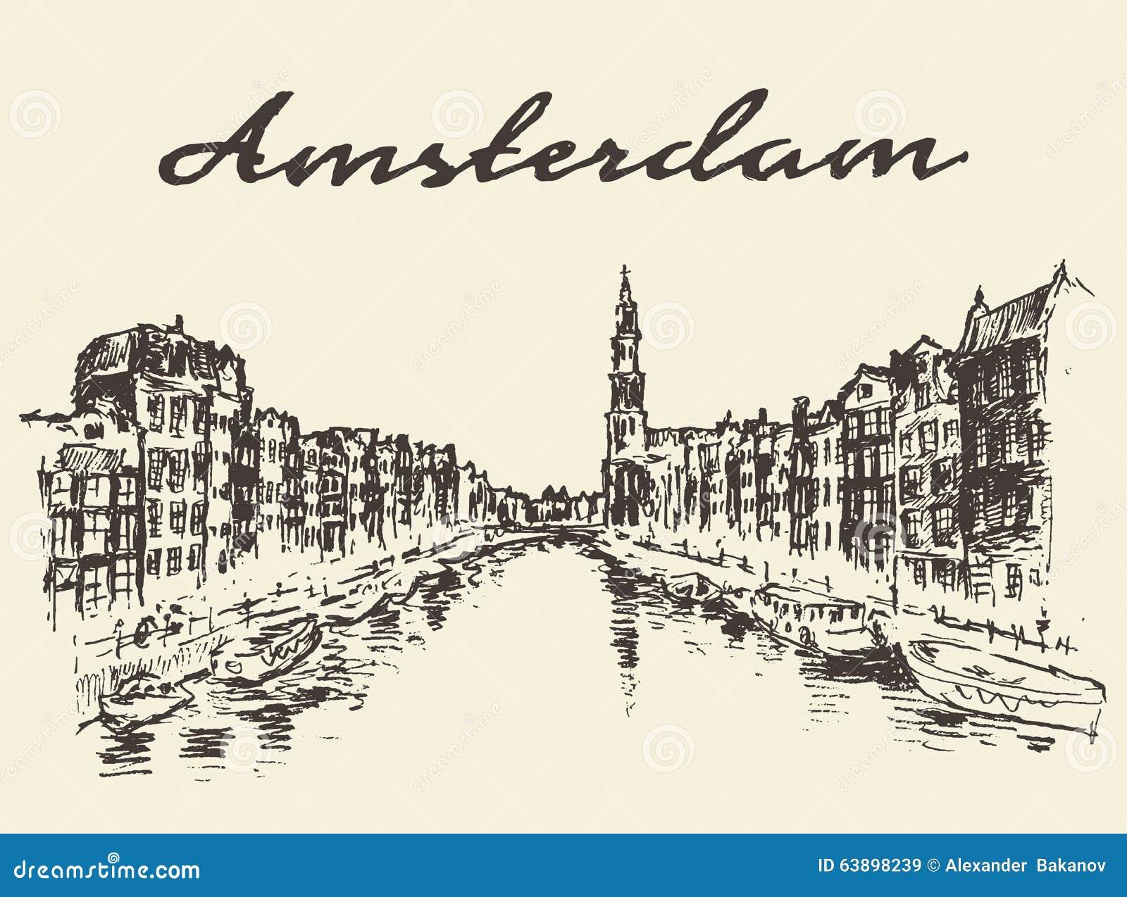 Streets Amsterdam vector illustration drawn sketch
