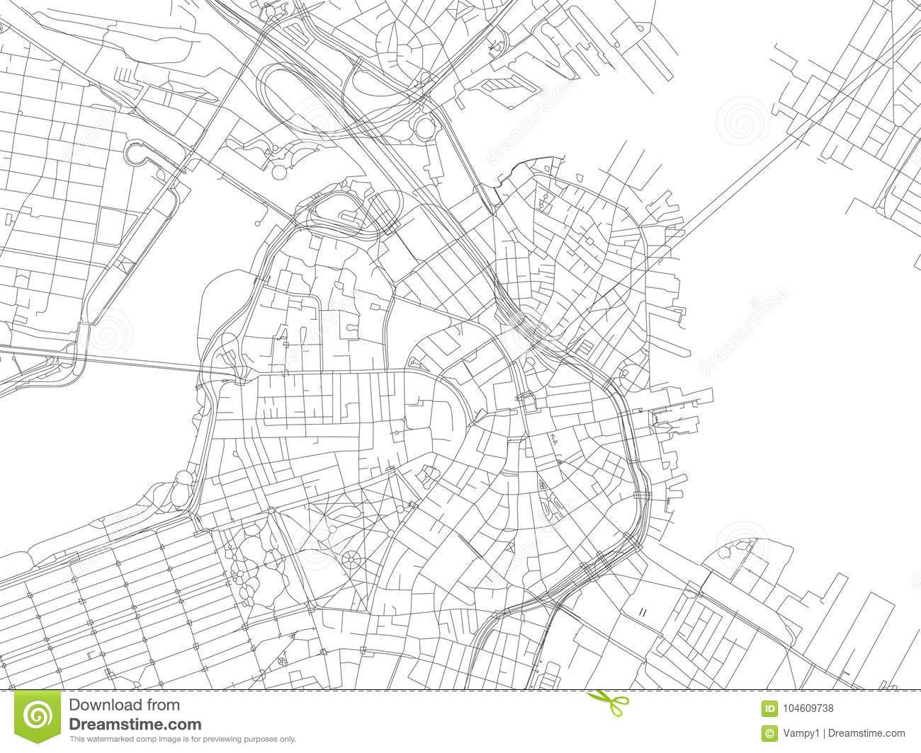 Streets Of Boston City Map Massachusetts United States Stock