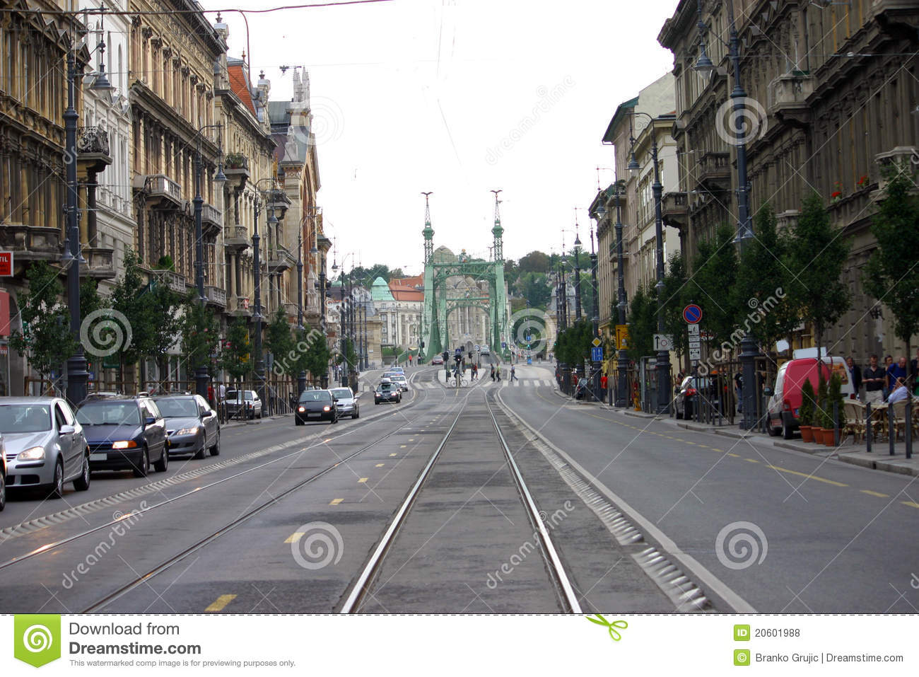 Budapest streets, view of old bridge over Danube river, Budapest ...