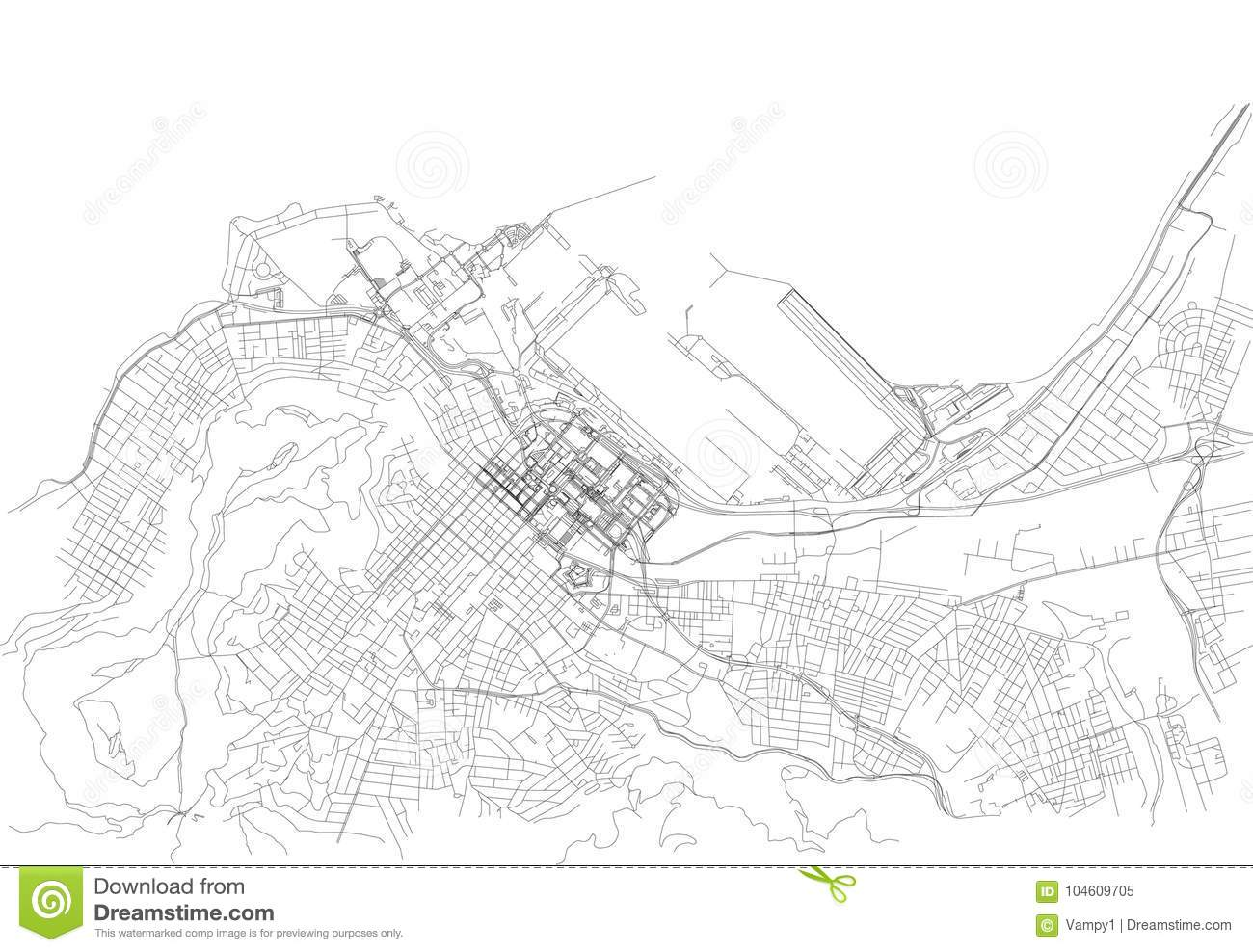 Streets Of Cape Town, City Map, South Africa Stock Vector