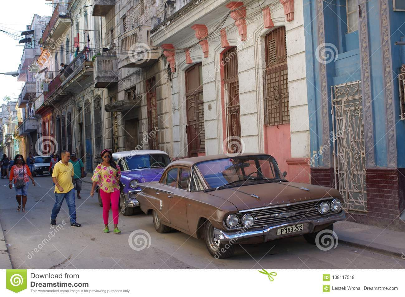 Classic Old Cars On The Streets Of Centro Havana Editorial Stock ...
