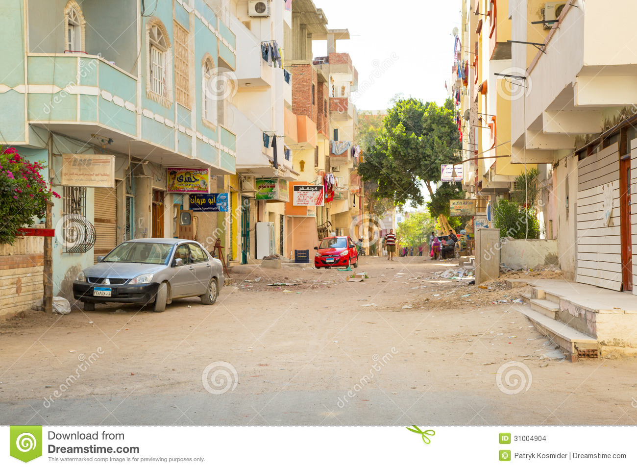 streets of city center in hurghada egypt editorial stock image