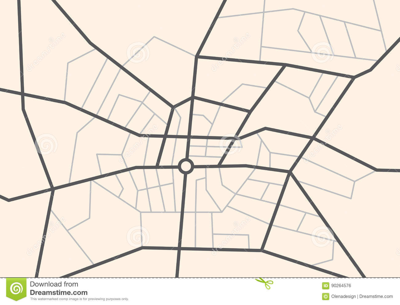 Streets on the city map - vector scheme