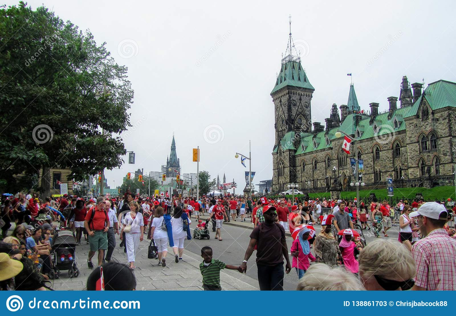The streets of downtown Ottawa are packed with thousands of families and multicultural people celebrating Canada Day