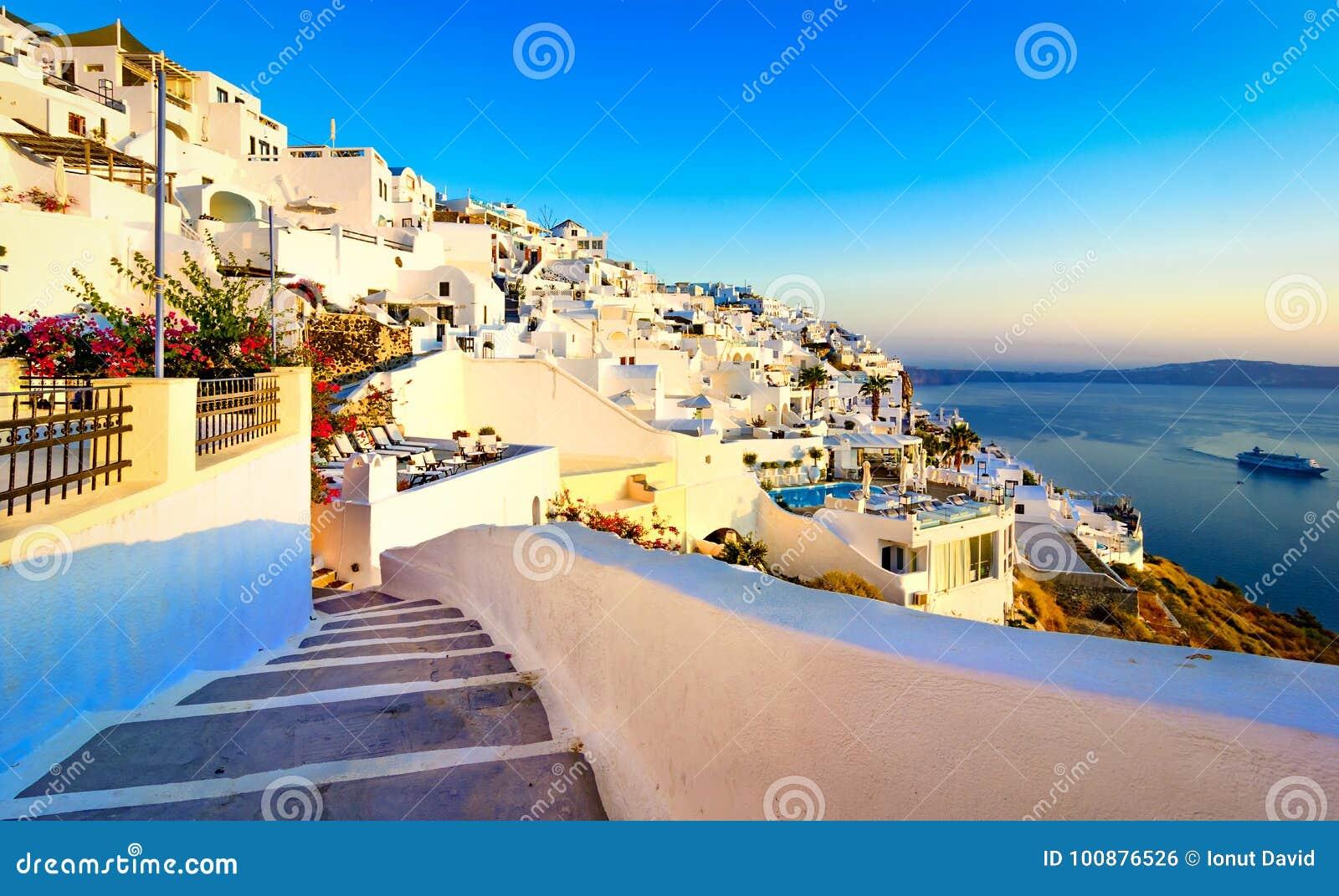 Fira, Santorini island, Greece. Traditional and famous white houses over the Caldera, Aegean sea