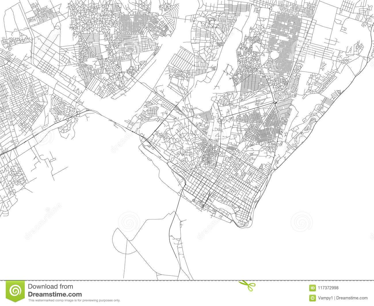 Streets Of Maputo, Map Of The City, Mozambique. Africa Stock