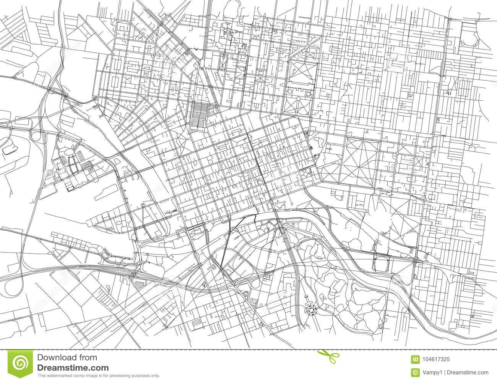 Melbourne Australia City Map.Streets Of Melbourne City Map Australia Stock Vector