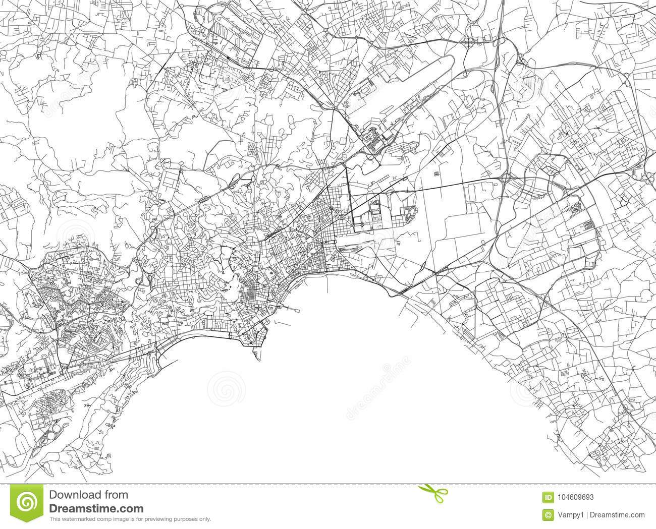 Streets Of Naples, City Map, Campania, Italy Stock Vector ... on