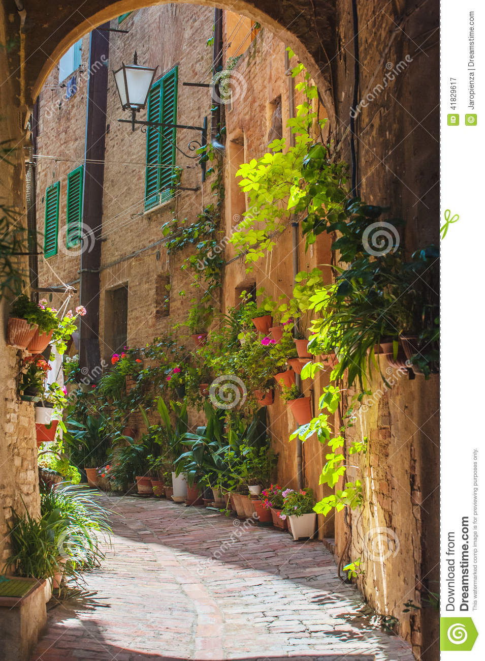 The Streets Of The Old Italian City Of Siena Stock Photo - Image ...