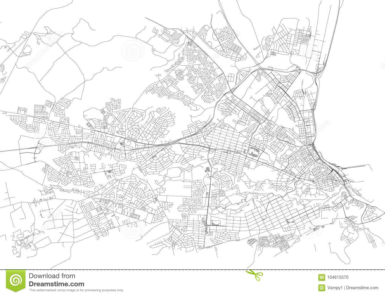 Streets of Port Elizabeth, city map, South Africa