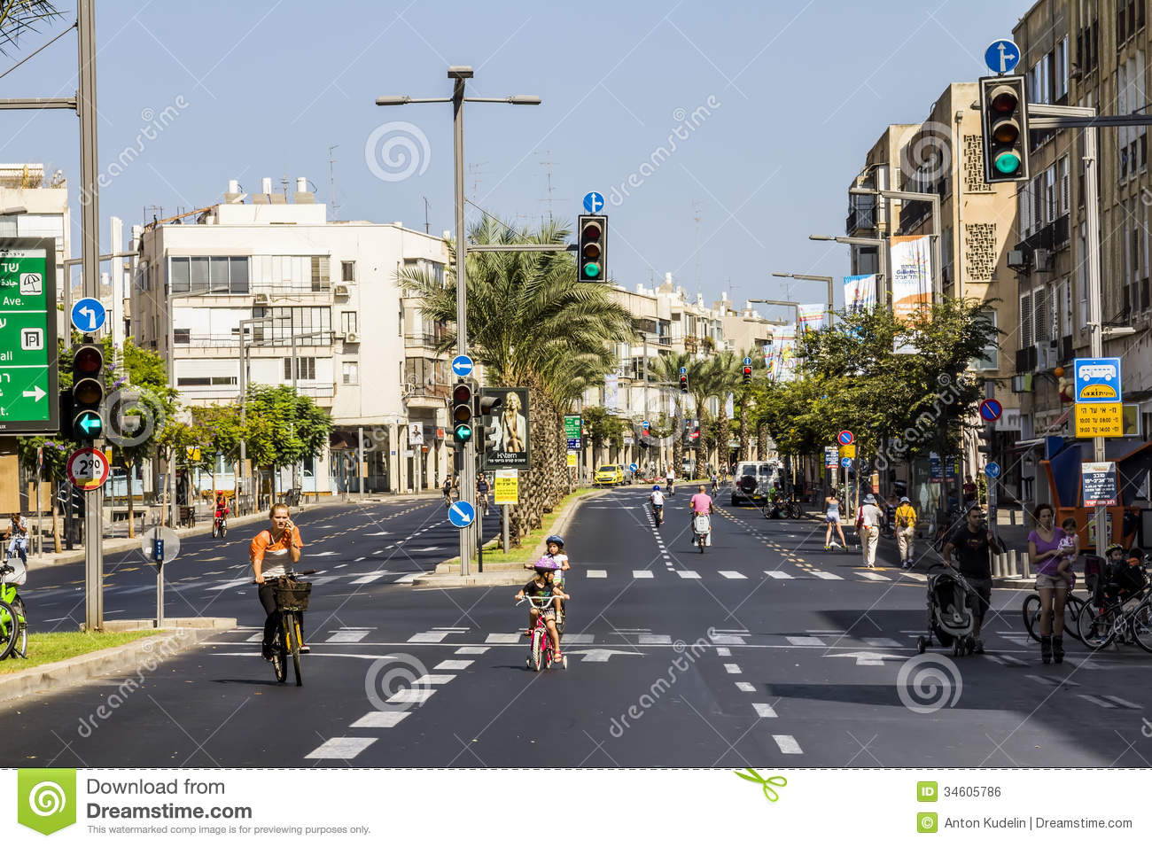 ... streets of Tel Aviv during the holiday Yom Kippur, September 26, 2012