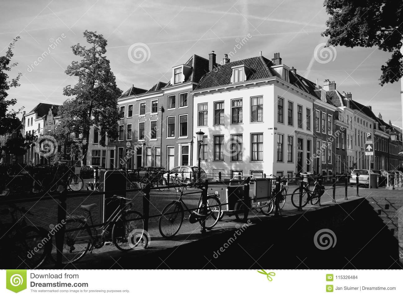 Streetscape in the city utrecht in the summer in black and white