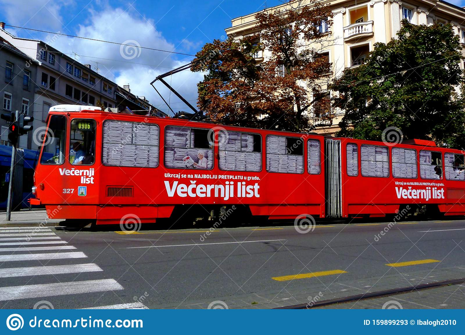 Streetscape With Red Tram In Zagreb Croatia On Bright Fall Day Editorial Stock Photo Image Of Clouds Style 159899293