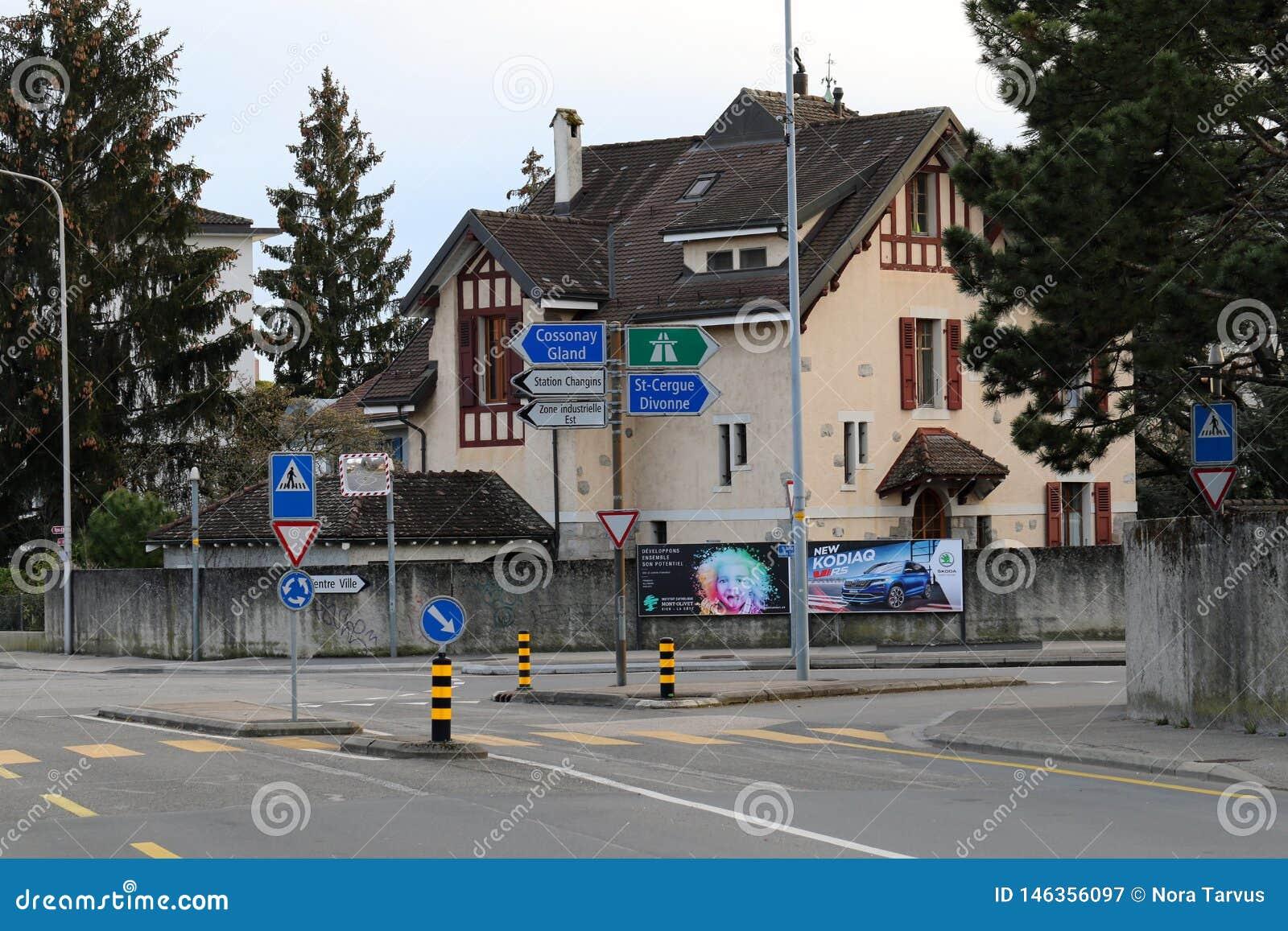 Streetview aan Nyon, Zwitserland