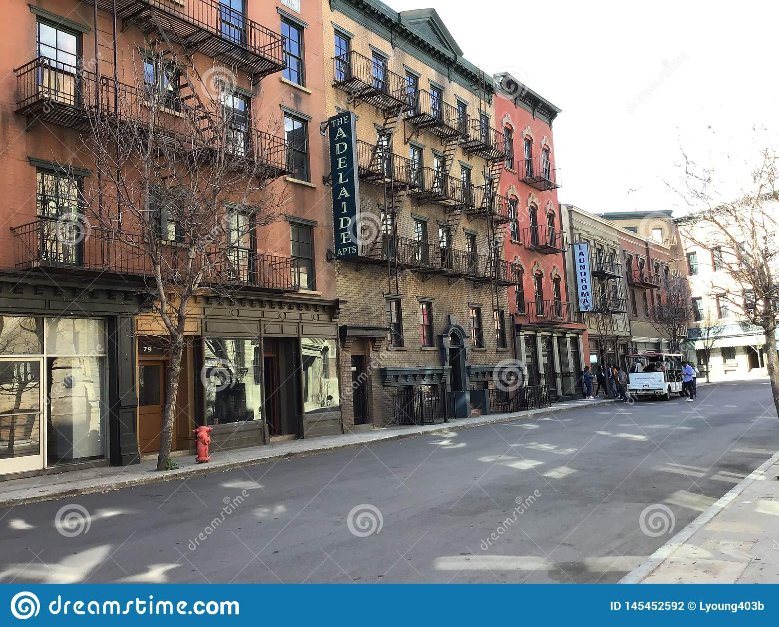 This is a streetview located on a studio lot simulating a historical town setting such as New York City where old movies