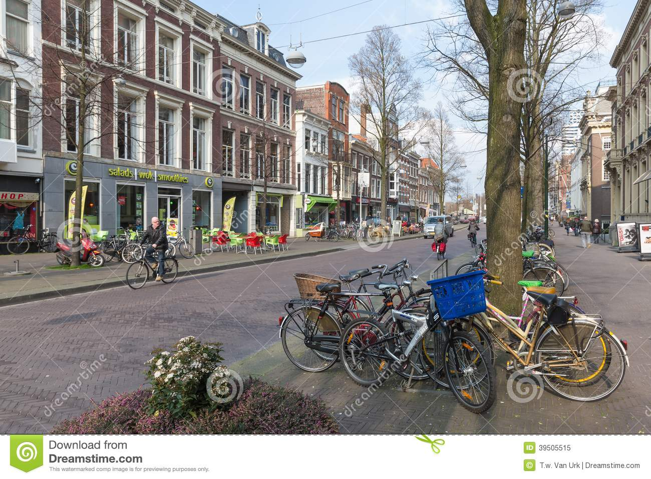 Streetview with parked bicycles in the old center of the Dutch governmental city The Hague