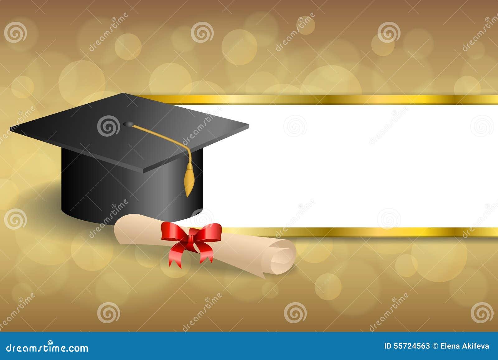 Streift rotes Bogengold des abstrakten Bildungsstaffelungskappendiploms des Hintergrundes beige Rahmenillustration