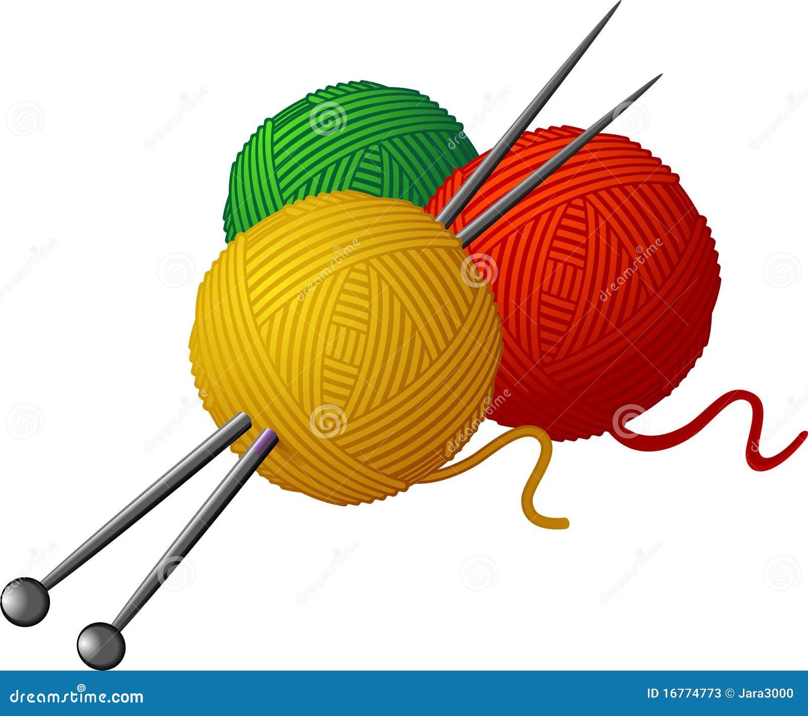 Free Knitting Icons Clipart : Strengen van wol en breinaalden vector illustratie