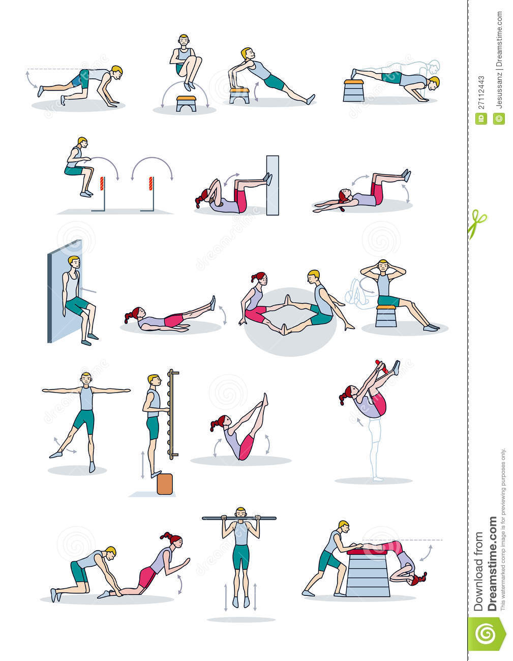 Strength Training Workout Stock Vector Illustration Of Gymnastics