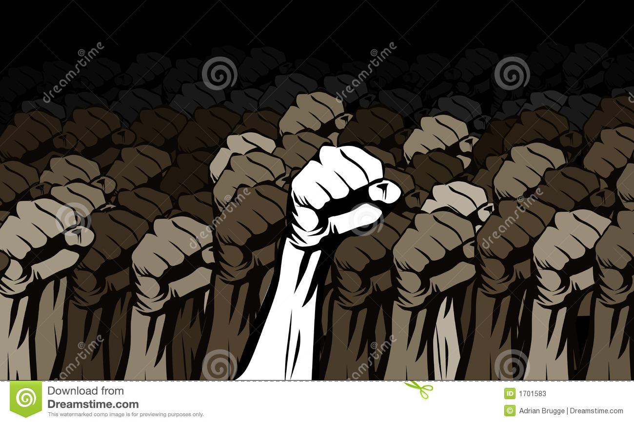 Clenched fists raised showing a rally strength, support and solidarity ...