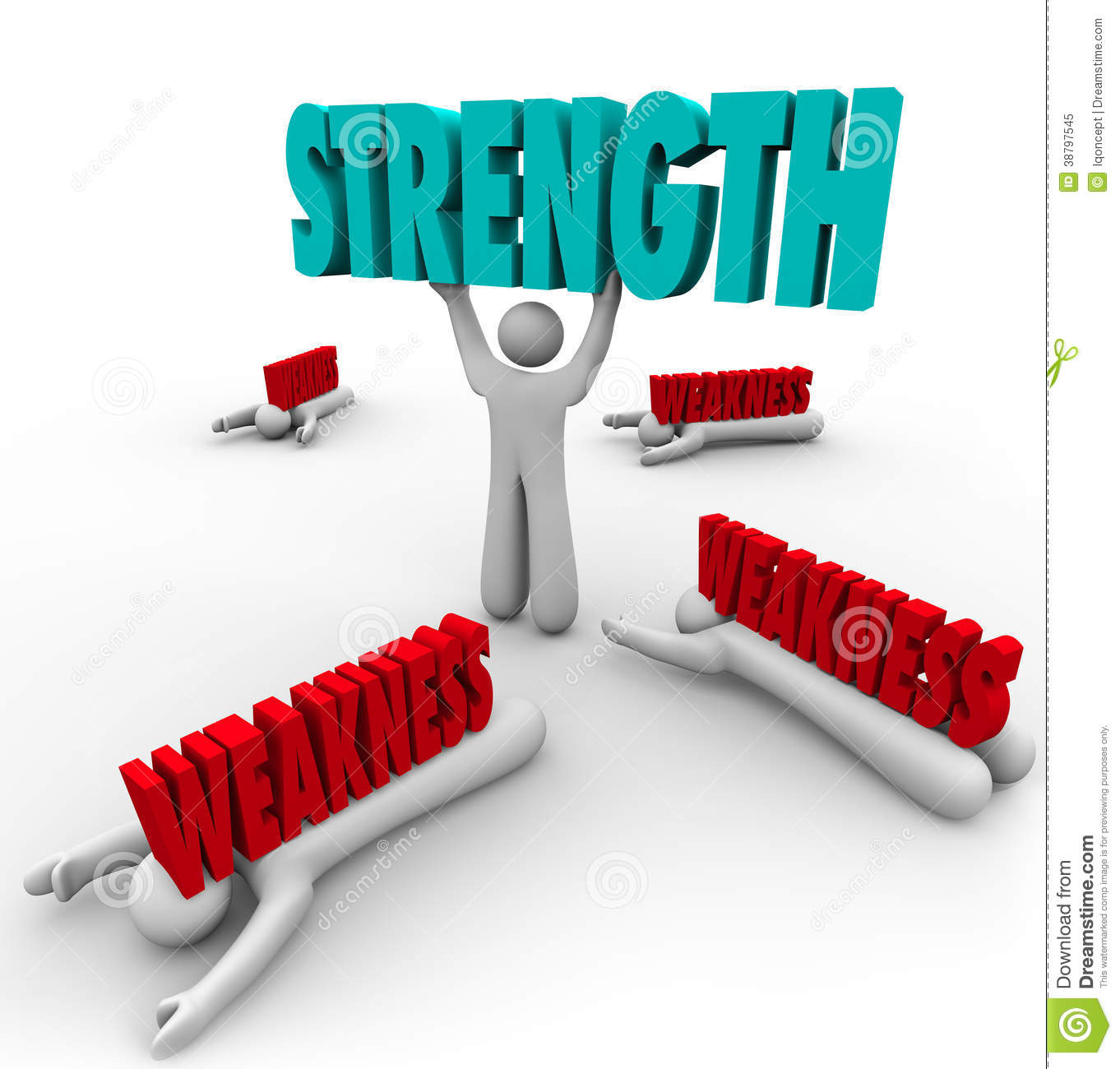 strength vs weakness person lifting word strong stock illustration strength vs weakness person lifting word strong