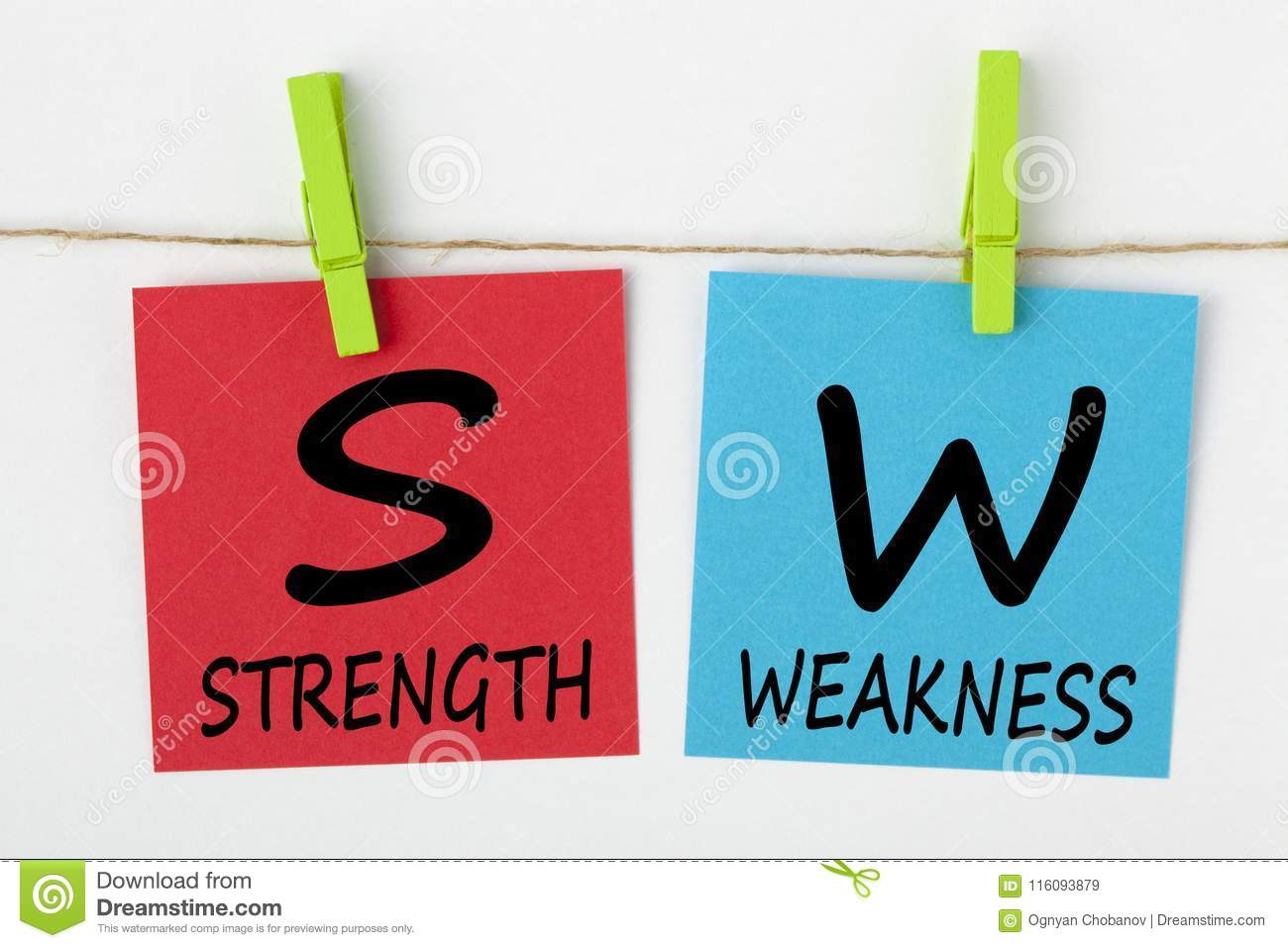 strength weaknesses concept stock image