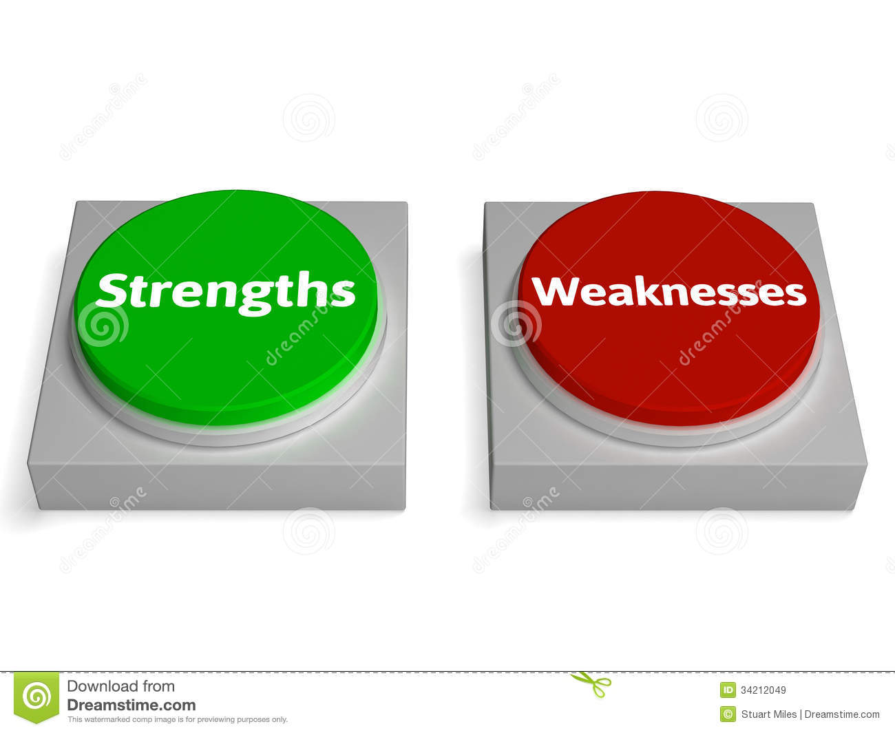 strengths weaknesses buttons shows weak royalty stock images strengths weaknesses buttons shows weak