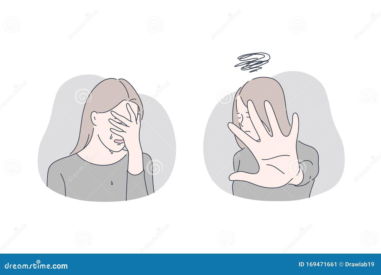 Stress Depression Refusal Set Concept Stock Vector Illustration Of Broken Depression 169471661