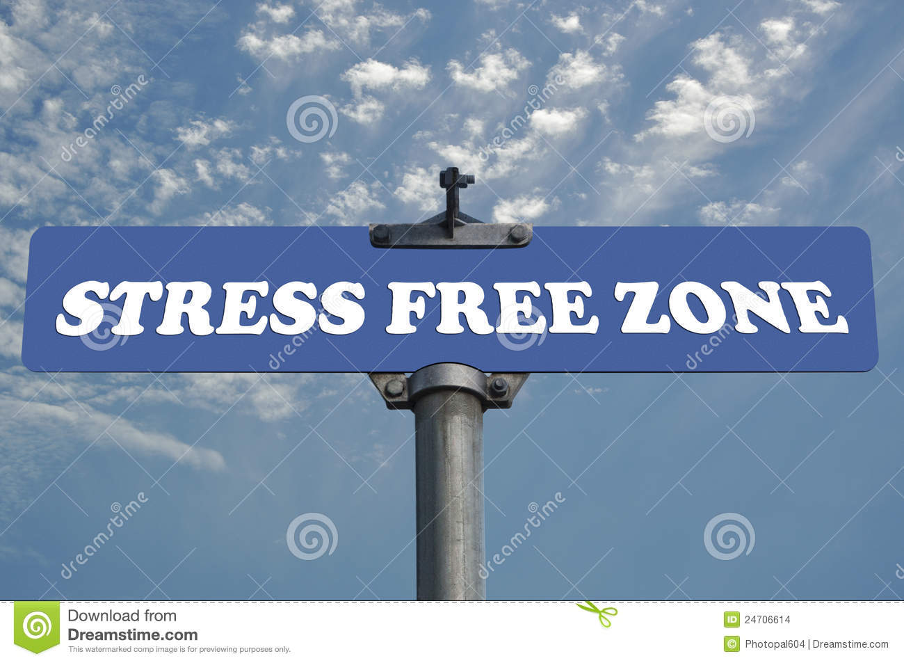 Stress free zone road sign